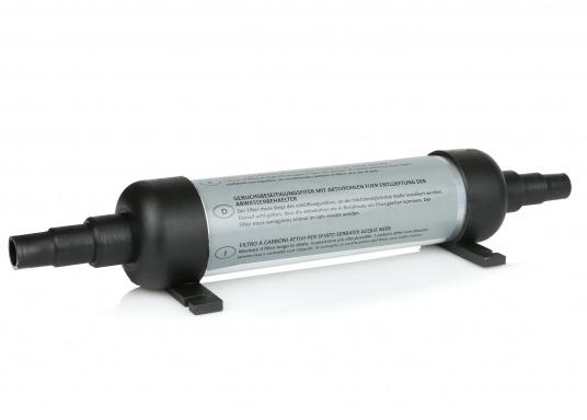 Elimina tutti gli odori! Veramente poco ingombrante e facile da installare: va collocato direttamente nel tubo di sfiato del serbatoio. Collegamenti tubi 16/19 mm. Lunghezza filtro: 240 mm. Molto compatto e facilmente rimovibile. (Immagine 1 di 1)