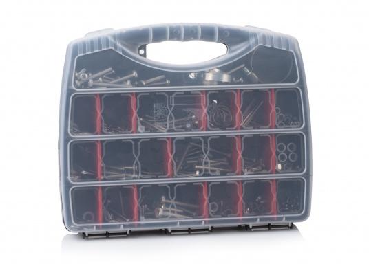 Cassetta di viti con articoli diversi. La robusta scatola in plastica contiene 375elementi in formati assortiti: viti, dadi, fascette, coppiglie, rondelle, ecc.  (Immagine 1 di 2)