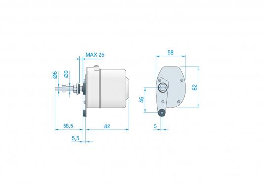 Tergicristallo elettrico con potente motore elettrico schermato. Alloggiamento in acciaio inossidabile. Disponibile nella versione da 12 V o 24 V.  (Immagine 6 di 6)