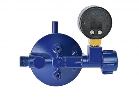 Regolatore di pressione adatto per il collegamento a bombole di gas fino a 14 kg. Portata: 0,8 kg / h. Fornito di manometro.  (Immagine 3 di 3)