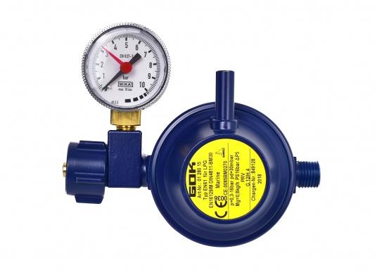 Regolatore di pressione adatto per il collegamento a bombole di gas fino a 14 kg. Portata: 0,8 kg / h. Fornito di manometro.  (Immagine 1 di 3)