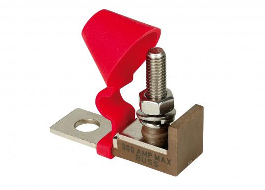 Questo speciale portafusibile consente l'impiego di fusibili ad ingombro ridotto e si installa su di un bullone isolato e resistente.  (Immagine 1 di 3)