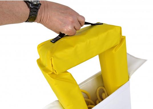 Il sistema di recupero uomo a mare realizzato da SAFESLING può essere installato sul pulpito di poppa di qualsiasi imbarcazione. La sua funzione è quella di facilitare il recupero di un uomo caduto fuori bordo. (Immagine 7 di 9)