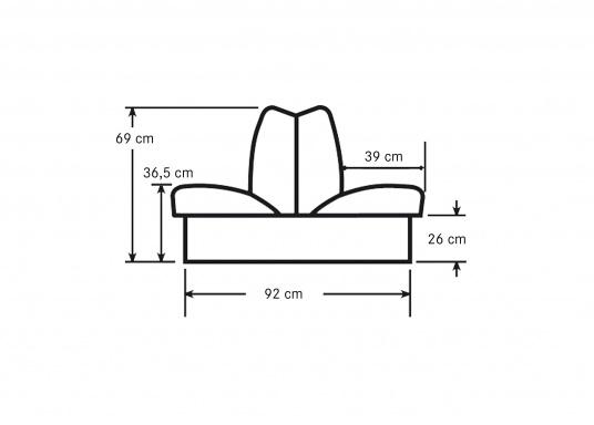 Sedile contrapposto foderato in simil pelle e telaio in plastica. Per due persone. Gli schienali possone essere stesi per diventare una comoda superficie su cui sdraiarsi,lunga166 cm. (Immagine 6 di 14)
