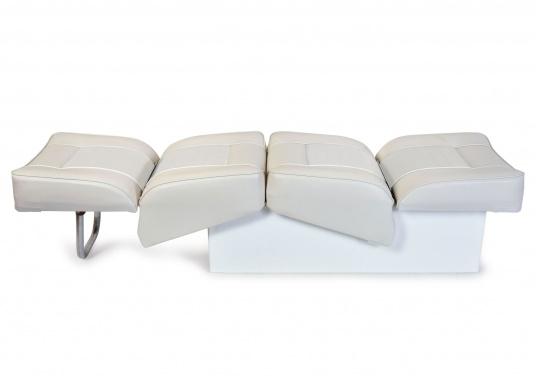 Sedile contrapposto foderato in simil pelle e telaio in plastica. Per due persone. Gli schienali possone essere stesi per diventare una comoda superficie su cui sdraiarsi,lunga166 cm. (Immagine 2 di 14)