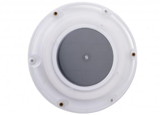 Ventilatore solare molto stabile e piatto, con coperchio in plastica trasparente. Con interruttore integrato per l'accensione e lo spegnimento. (Immagine 3 di 5)