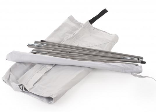 Tendalino a sospensione libera che può essere appeso ovunque sullo yacht grazie alla sua flessibilità. Ha una tenda resistente alla pioggia e ai raggi UV, cinghie regolabili su tutti gli angoli e aste con elastici integrati. Disponibile in diverse dimensioni. (Immagine 8 di 9)