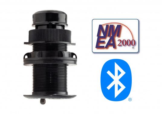 Il trasduttore passante in plastica DST810 determina in modo affidabile e preciso i segnali di profondità, velocità e temperatura nell'acqua. Grazie alla connettività NMEA2000 e Bluetooth, hai diverse opzioni per la visualizzazione dei dati. Un'uscita del segnale a 5 Hz garantisce una riproduzione fluida sul dispositivo di visualizzazione. (Immagine 1 di 8)