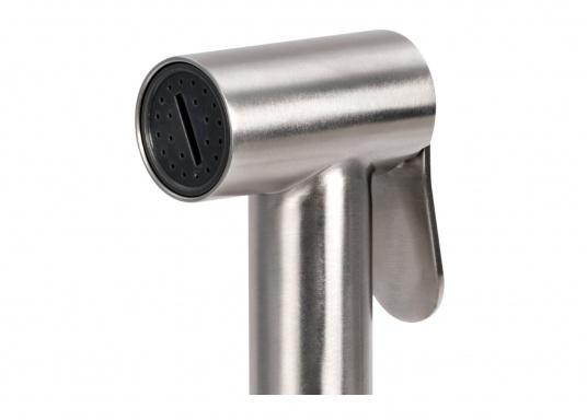 L'elegante doccia da ponte TIGER è realizzata in acciaio inossidabile di alta qualità (AISI 316) e dispone di un miscelatore e di un tubo in acciaio inossidabile lungo 4 m. (Immagine 2 di 4)
