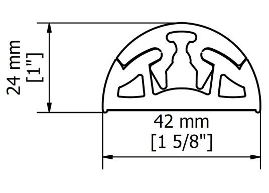 Profili in gomma dal design moderno adatto per la nautica. Il profilo flessibile può essere installato in pochi minuti. La lunghezza può essere accorciata individualmente. Prezzo al metro. (Immagine 2 di 2)