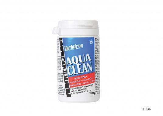 Aqua Clean mantiene l'acqua pulita e sicura! In quasi due ore, l'acqua potabile è disinfettata e fresca. Copertura antibatterica fino a sei mesi. Aqua Clean non contiene cloro o sostanze chimiche. Inodore ed insapore.  (Immagine 3 di 4)