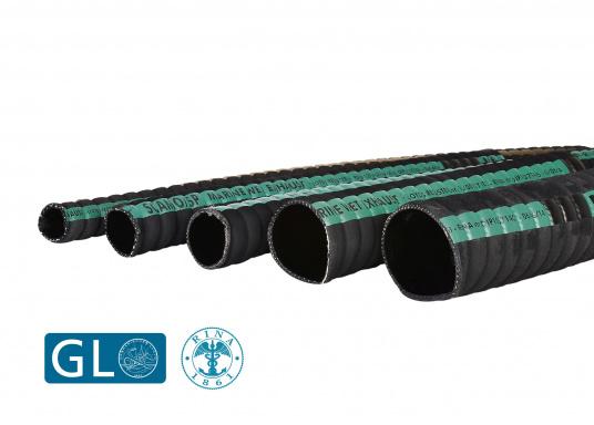 Tubo di scarico estremamente flessibile per sistemi di scarico di raffreddamento ad acqua. L'uso di tubi in gomma nel sistema di scarico permette una significativa riduzione di vibrazioni e di risonanza. Prezzo al metro.  (Immagine 1 di 1)